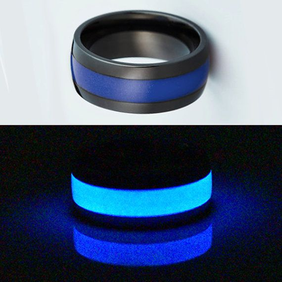 Black Titanium Glow Wedding Ring for Men Mens by StarfireRings