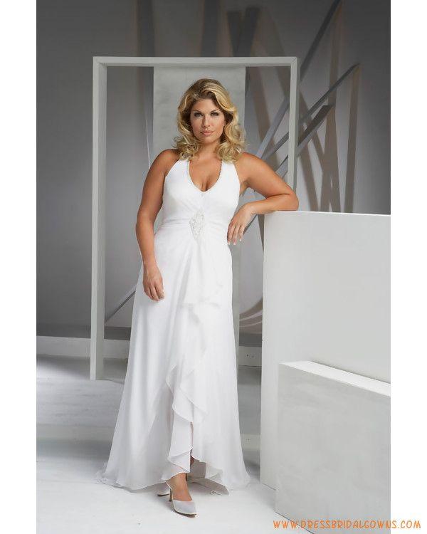 Plus Size Casual Wedding Dresses | Elegant Simple Halter V-neck Chiffon Casual Plus Size Wedding Dresses