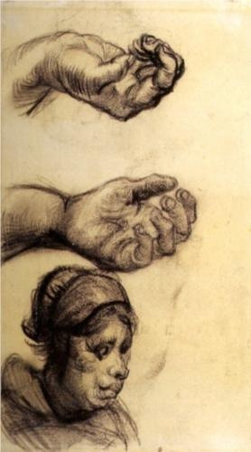 Two Hands and a Woman s Head - Vincent van Gogh