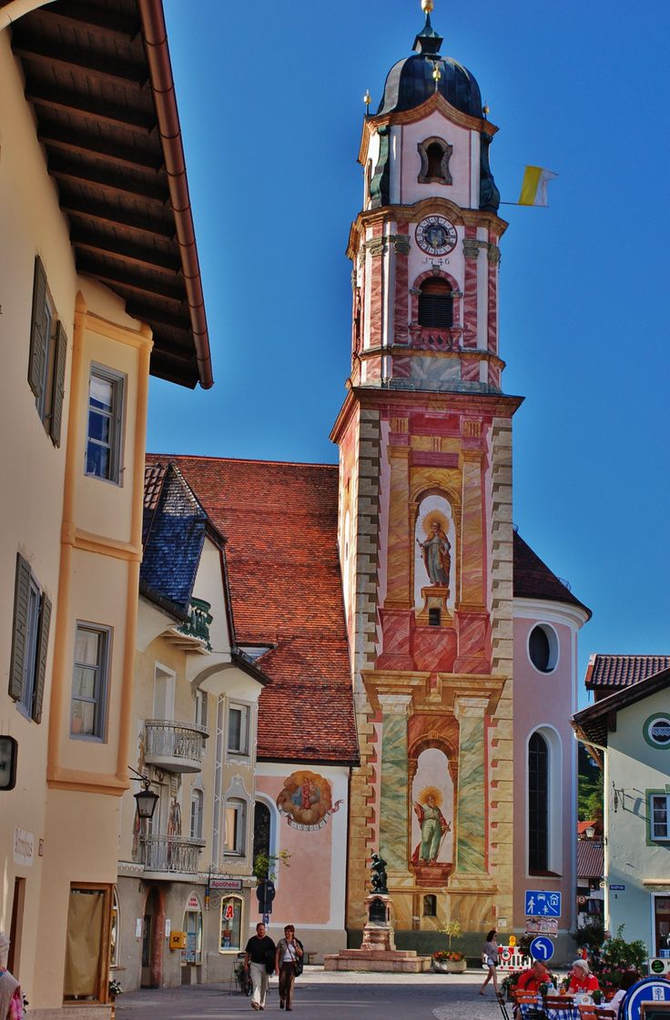 decorated church tower in Mittenwald, Bavaria, Germany