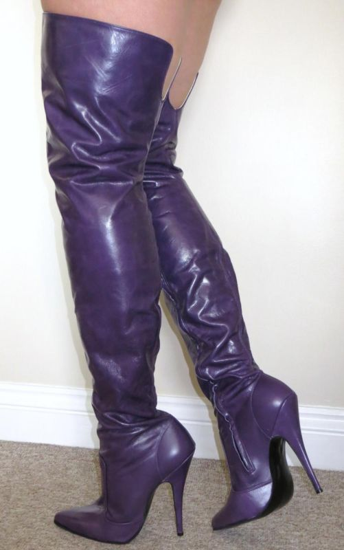 Purpe soft leather thigh length boots | boots heels ...
