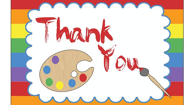 Art Party Thank You Card - http://www.pbs.org/parents/birthday-parties/art-birthday-party/printables/art-party-thank-you-card/