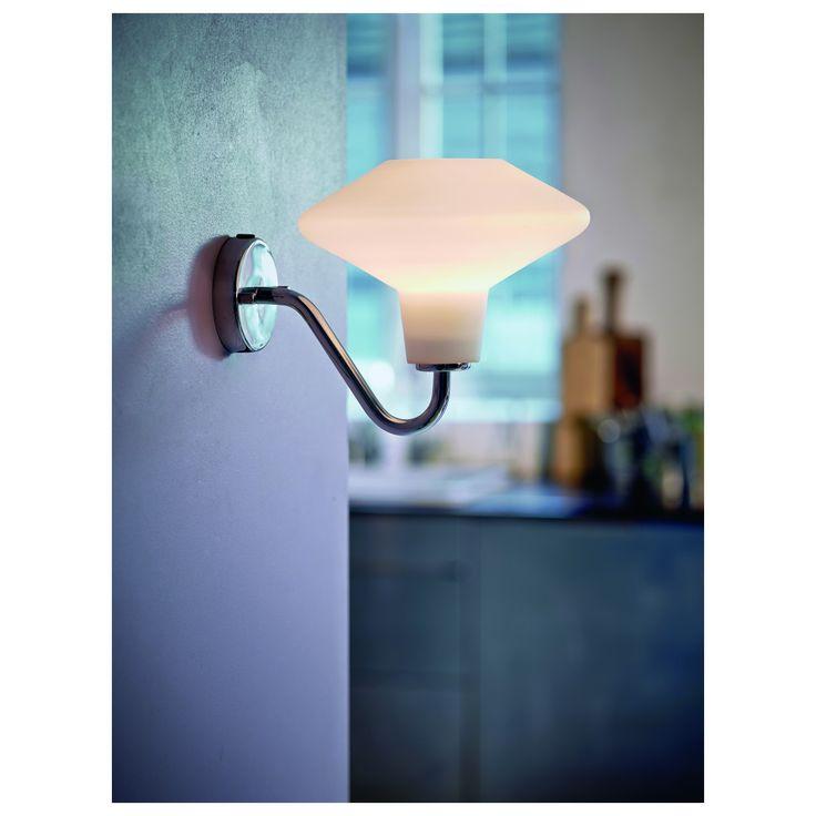 DAWN wall lamp mid century design, Denmark.  White opal glass with chrome option.  List $127.