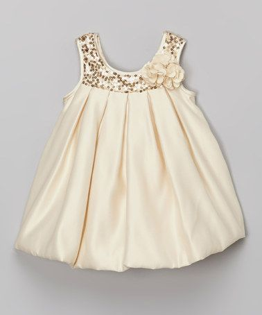 Look what I found on #zulily! Champagne Sequin Bubble Dress - Infant, Toddler & Girls #zulilyfinds