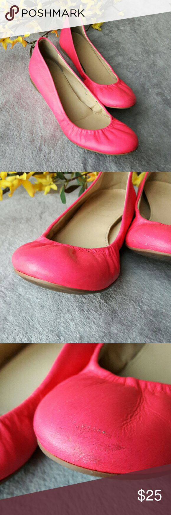 J. Crew Hot Pink Ballet Flats Shoes Cute hot pink shoes from J. Crew. A size 6. Made in Italy with a leather upper. Some scuffs and marks, shown in pictures. J. Crew Shoes Flats & Loafers