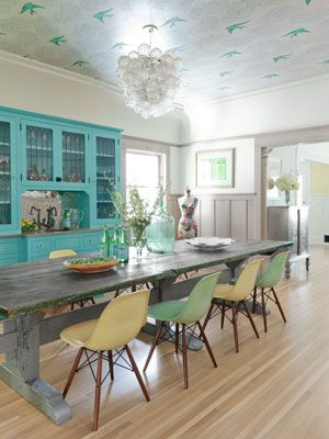 I love this farm table. I want to build one. Decorating with Color - Colorful Decorating Ideas - Country Living: Dining Rooms, Decor, Ideas, Turquoise Cabinet, Style, Ceiling, Colors, Diningroom, Kitchen