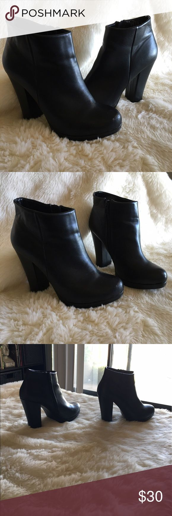 🔮Black Faux Leather 4 inch Heeled Booties🔮 These leather looking booties are absolutely gooorgeous. I only wote them once, but have since been diagnosed with a spinal condition so those 4 inch heels are a no-no! These will work with pretty much anything, with jeans or a sexy dress. They're a true seven and the heel is actually a 1/4 inch taller than 4 inches. The bottoms and insides don't have significant wear and I'm not sure if the brand. I got them at a boutique and the label is a D💕…
