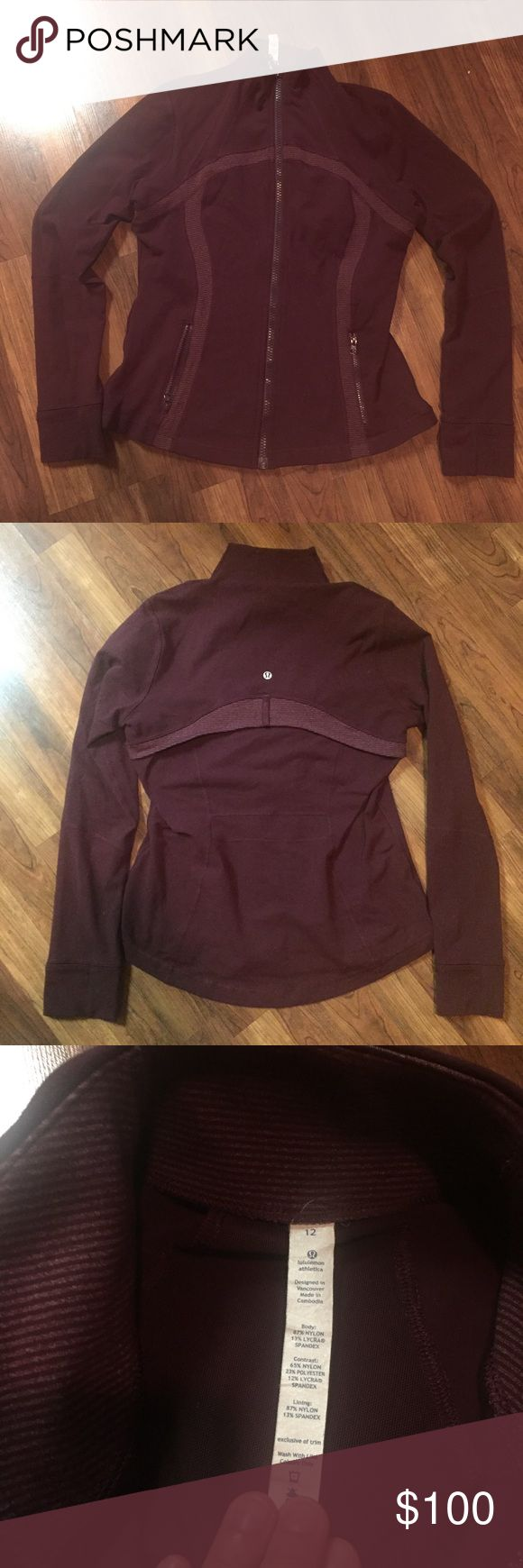 Drama Bordeaux Wee Stripe Define ⭐️Very Good Used Condition - the only sign of wear is the zipper pull chipping (see photo).  I've included stock photo because I had such a hard time getting this color to photograph.  ❤️Dog Friendly Home 🐶 so will most likely have some stray hairs lululemon athletica Jackets & Coats