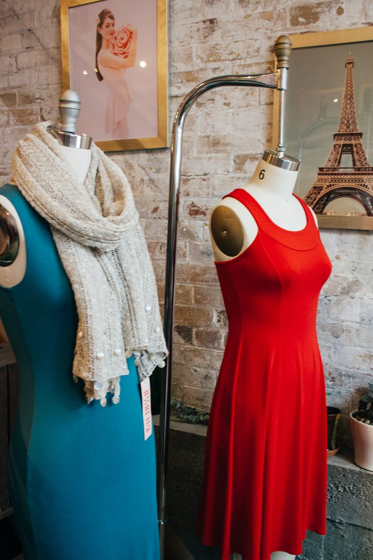 Parisian style with a little red dress and a knit linen shawl at Jessica Rose.