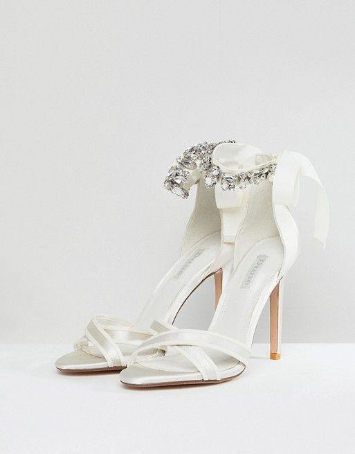 64549a92053 Sandalias de tacón para novia con tira en el tobillo con pedrería Morgen de Dune  London