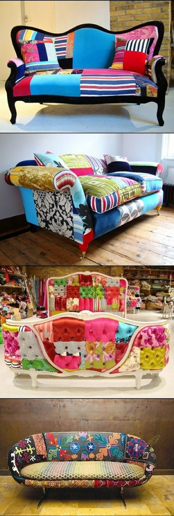 DIY SOFA RENOVATION...talk about inspiring projects for Spring! Just saying...and of course, you can get the funky sofa at your local Goodwill | www.bocadolobo.com/  #modernsofa #sofaideas