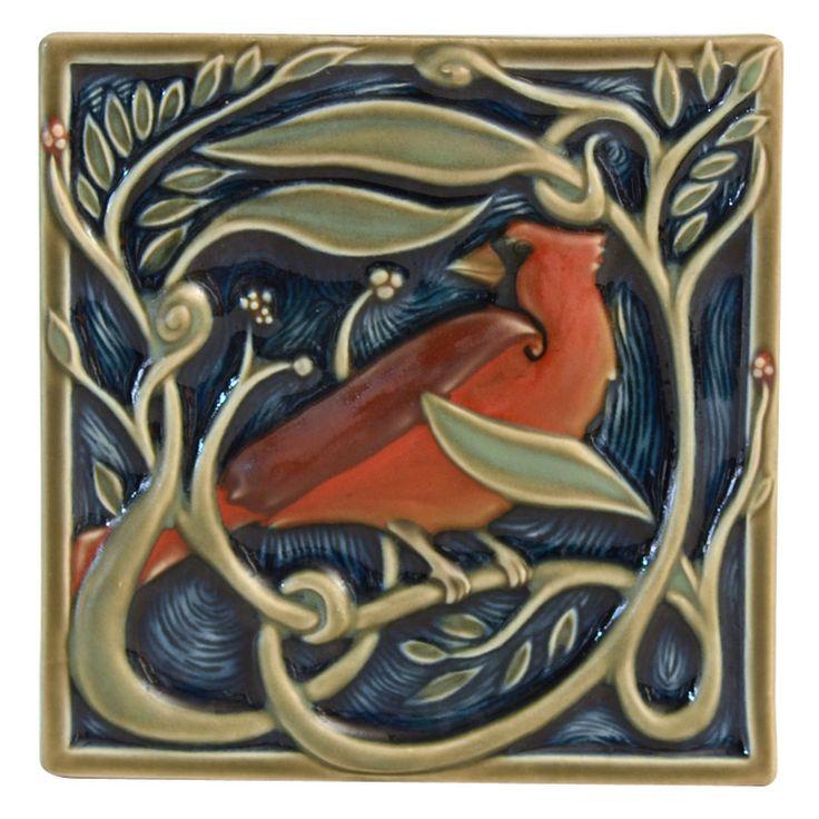Cardinal gift tile from Rookwood Pottery - Cincinnati, Ohio
