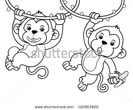 Baby monkey outline illustration of cartoon monkeys for Cartoon monkey coloring pages