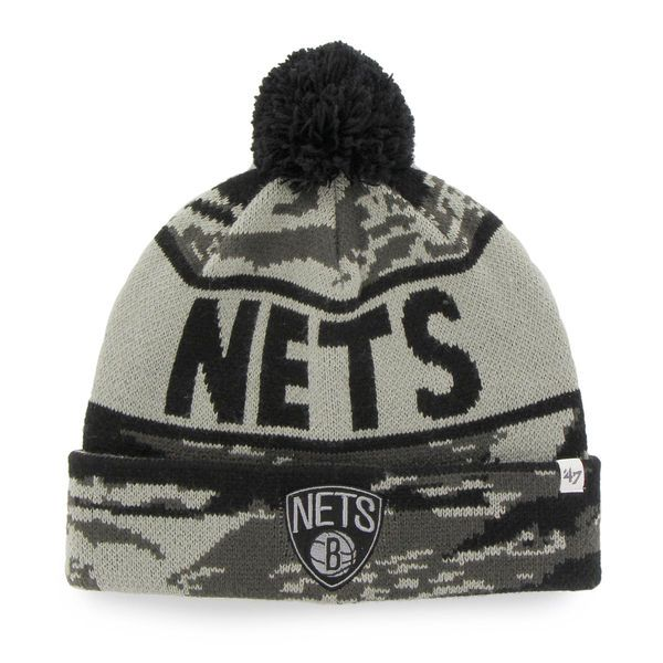 Men's Brooklyn Nets '47 Brand Camo Tigertooth Beanie, Today's Sale Price: $10.99 - You Save: $11.00