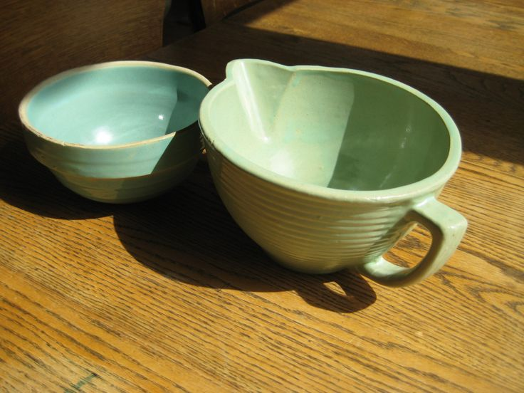 Vintage Ceramic Bowls. Slightly Different Tones of Blue Green. by NorthWoodsAttic56 on Etsy