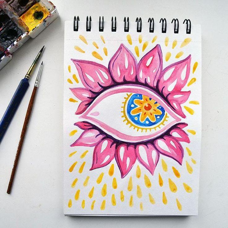 Глаза, подобные лотосам #lotus #eye #watercolor #sketch #illustration #flowers Samarskaya Milana