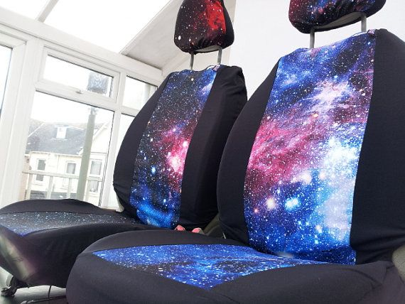 Galaxy print car seat covers: car front seat covers. Space 1999. English print. Pair of covers for car front seats. Milky way printed fabric