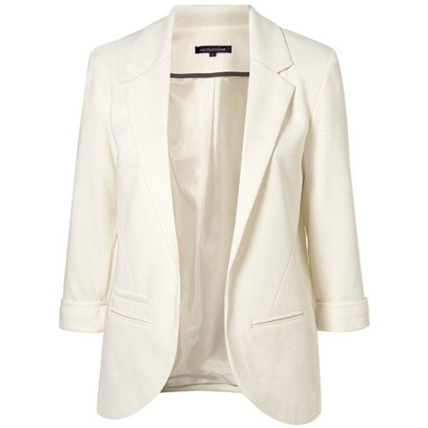 White Boyfriend Ponte Rolled Sleeves Blazer ($33) ❤ liked on Polyvore featuring outerwear, jackets, blazers, blazer, пиджак, boyfriend blazer, rolled sleeve blazer, blazer jacket, ponte blazer and white blazers