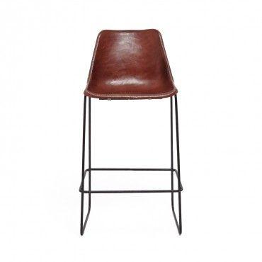 Giron Brown Leather Barstool