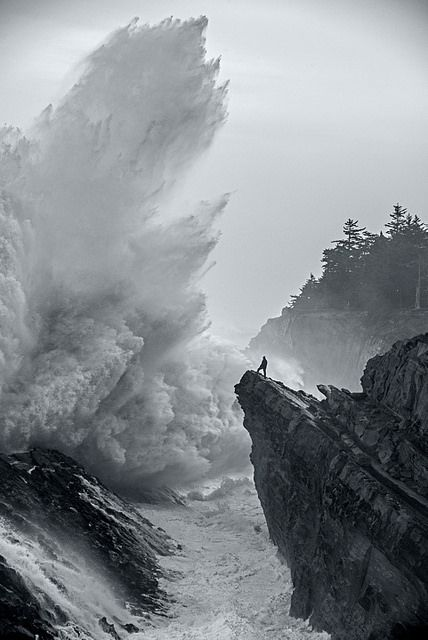 Shore Acres State Park , Oregon,  2014 ~ Amazing shot, I would not want to be the guy on the rock