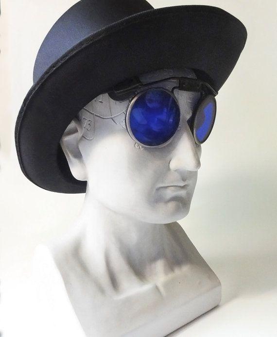 Vintage Welding Glasses Goggles Blue Steampunk