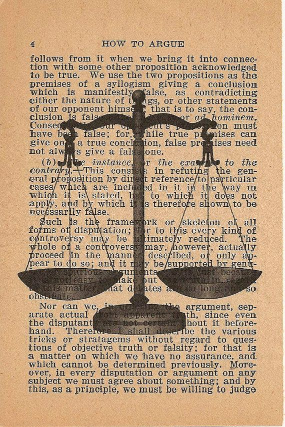 Scales of Justice Vintage Book Print How to