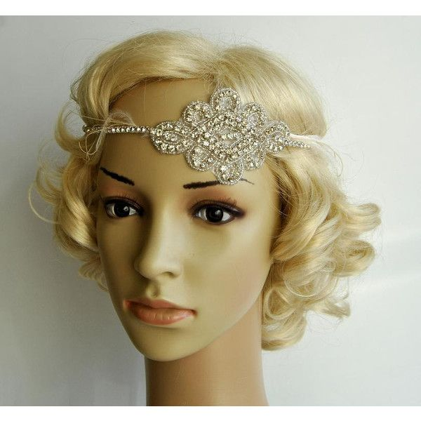 Gorgeous 1920'S Rhinestone Flapper Headband ($30) ❤ liked on Polyvore featuring accessories, hair accessories, headbands & turbans, white, fascinator hats, 1920s headband, headband hair accessories, white headband and bridal headband