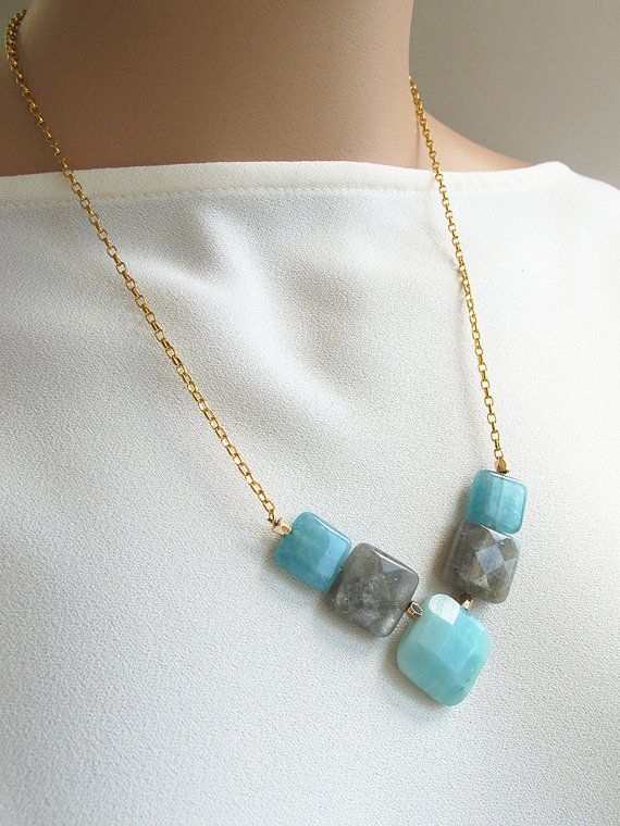 V shape gemstone #collarnecklace, faceted square #labradorite, and cyan #amazonite necklace, 24 K #gold chain, FREE shipping #affordable #freeshipping #bead #beads #gem #gems #gemstone #gemstones #jewelry #jewellery #jewelrymaking #jewelrysupplies #jewelrysupply #etsy #farragem #design #designer #handcrafted #handmade #ring #necklace #earrings #bracelet #pendant