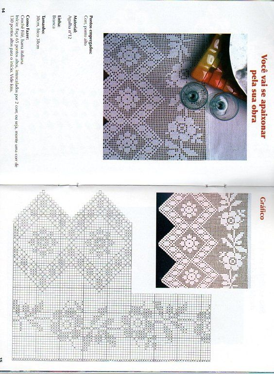 Filet lace edging with diagram #2