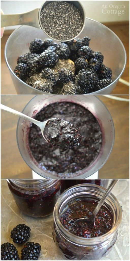 10 minute, no cook chia seed blackberry freezer jam is the easiest jam recipe ever! It has only 4 real food ingredients and is sweetened with maple syrup.