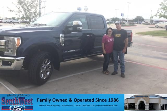 """We came to Southwest Ford in search of a new truck, but also for a dealership that was willing to earn our loyalty, as we purchase every 3 years. Faviola worked with us from day one, contacting us the minute the vehicle we requested had arrived and even waited for us to get back from vacation. We were promptly greeted and treated wonderfully from the minute we walked in the door of the dealership. Even during the """"haggling"""" process, everyone was pleasant (quite funny, actually) and the end…"""