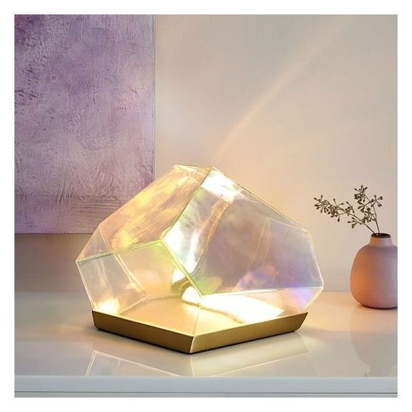 West Elm Glass Gem Table Lamp ($169) ❤ liked on Polyvore featuring home, lighting, table lamps, west elm light, ivory table lamp, diamond light, rainbow light and alabaster light