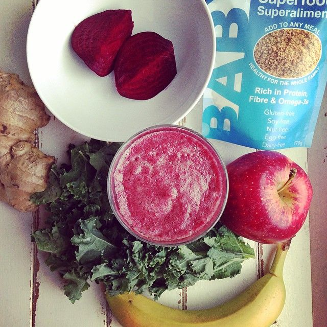 Morning Sunday Goodness Smoothie: beet, kale, banana, apple, Baby Brain Organics & ginger. Blend with coconut water (or water) and ice & enjoy the pure goodness. #healthysmoothie #healthinaglass #fruitsmoothie #rawfood