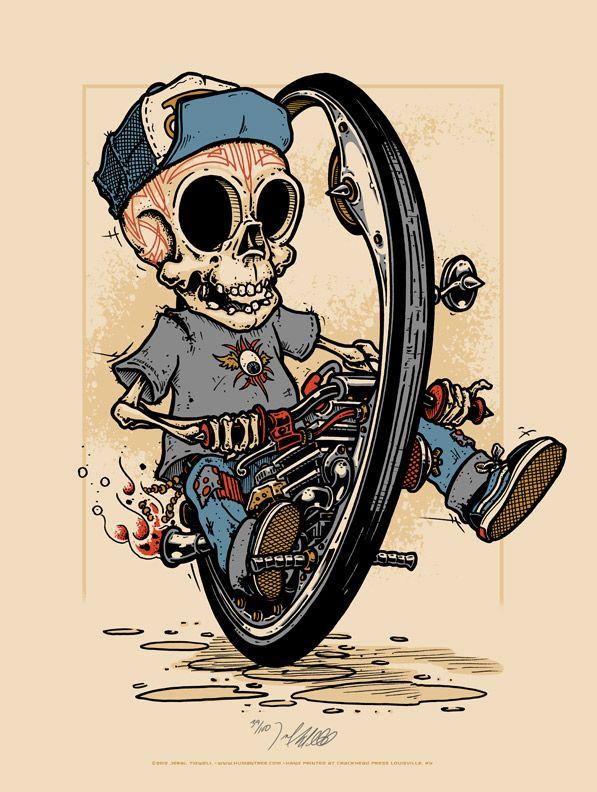MONOCYCLE SKULL ILLUSTRATIONS BY HUMAN TREE  Skull Illustrations by Human Tree: http://skullappreciationsociety.com/skull-illustrations-by-human-tree/