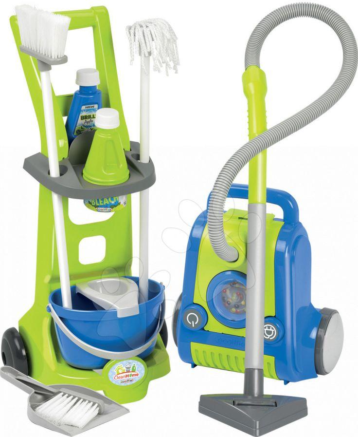 Écoiffier upratovací vozík s vysávačom Clean Home 1770 modro-zelený - 0