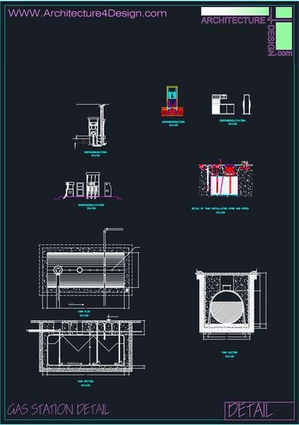 Fuel filling stations architecture design, a collection of 19 gas stations designs (Autocad drawings) | Architecture for Design
