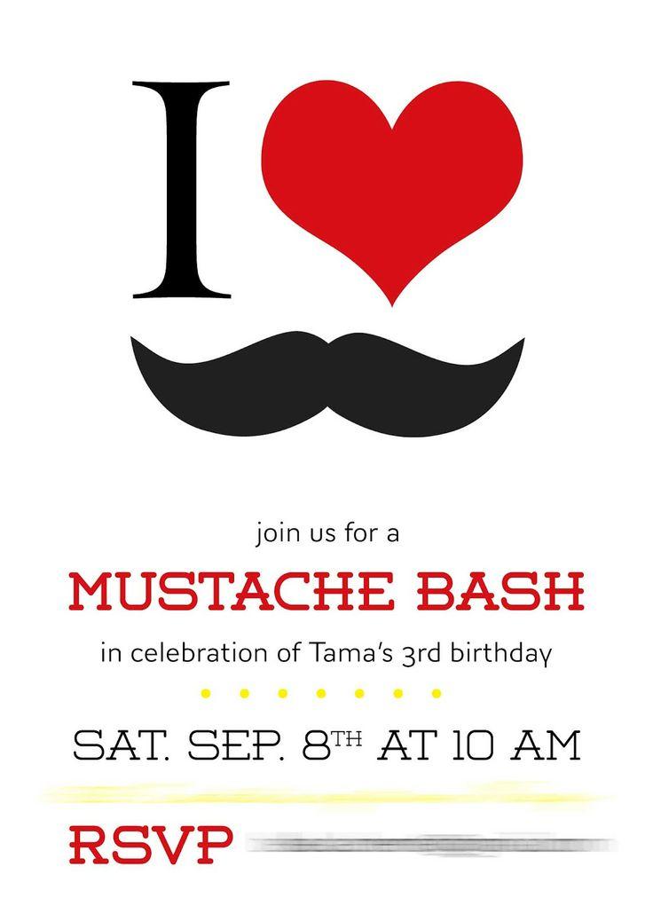 Mustache Bash Birthday Invitations