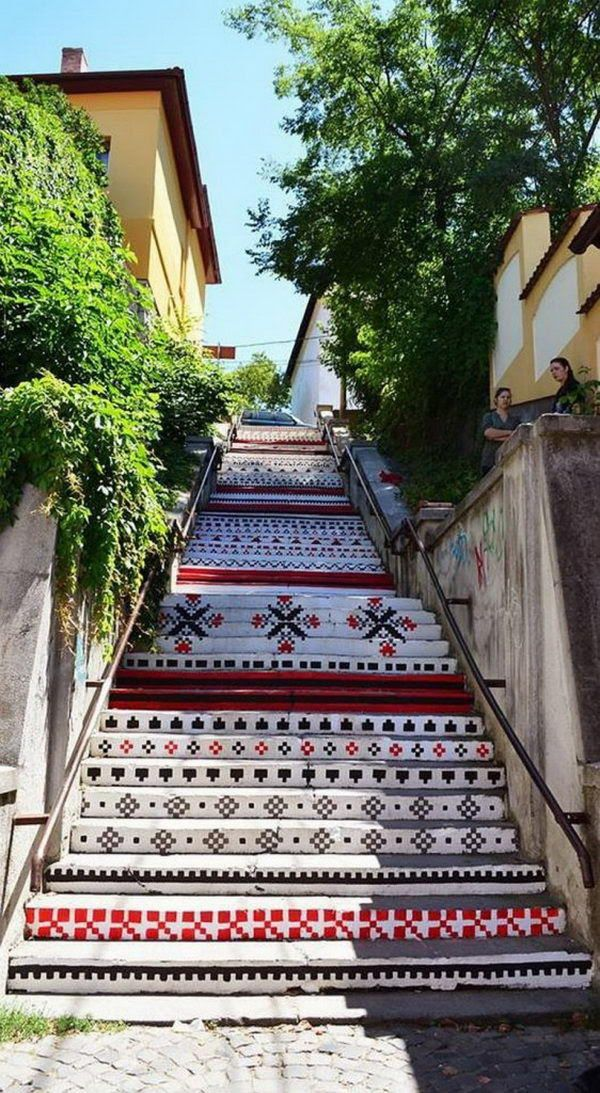 The Beauty of a Painted Stairs: Targu Mures , Romania   #picsandpalettes #Romania