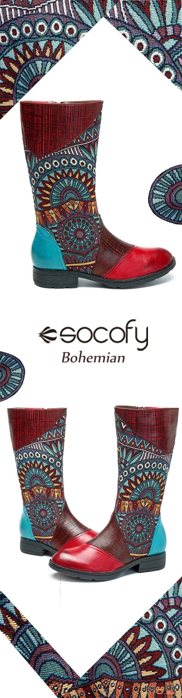 SOCOFY Women Retro Splicing Pattern Flat Mid-calf Leather Boots. bohemian style, shoes boots, boots outfit, womens boots, winter boots, ankle boots, leather boots, snow boots. Buy now!