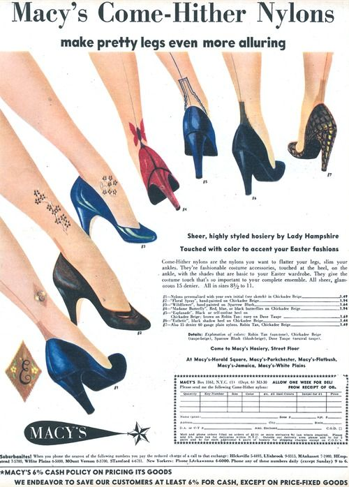 In this ad for nylon stockings, designs around the ankles imitate tattoos. The advertisement pushes the idea that legs with these designs are more desirable over plain stockings.