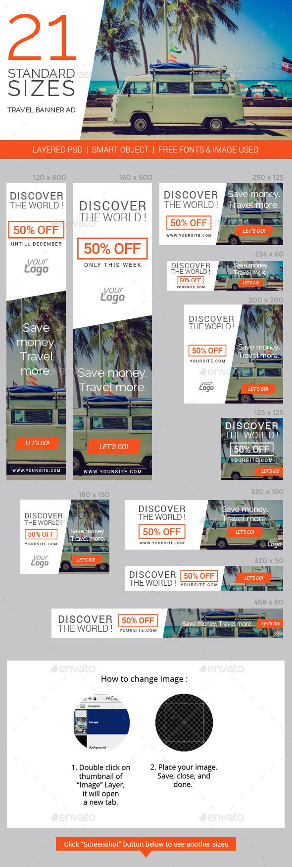 Travel & Vacation Web Ad Marketing Banners Template PSD   Buy and Download: http://graphicriver.net/item/travel-vacation-web-ad-marketing-banners/8998083?WT.ac=category_thumb&WT.z_author=vectorcaptain&ref=ksioks