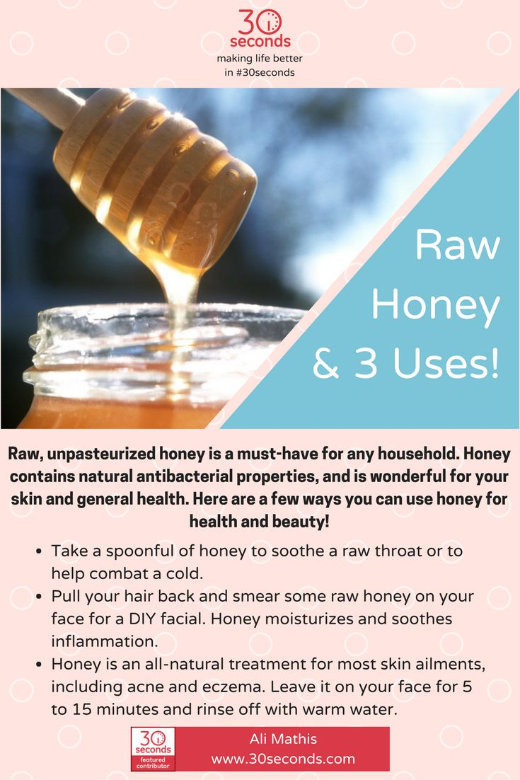 Raw, unpasteurized honey is naturally good for you! Check it out! #30Seconds #natural #health https://30seconds.com/health/tip/7678/Raw-Honey-3-Uses-for-Honey-That-You-May-Not-Have-Known-About