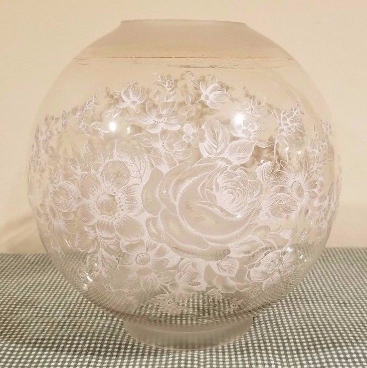 Vintage Frost White Flowers GWTW Gone with the Wind Glass Ball Globe Lamp Shade