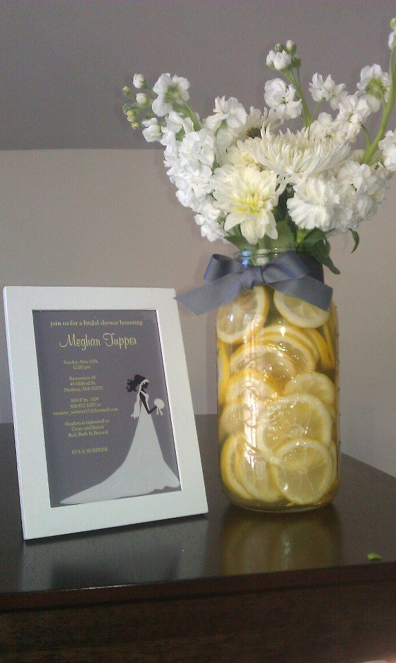 Homemade centerpiece for bridal shower-- yellow and grey