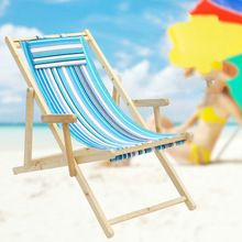 Simple Foldable Portable Beach Chair Solid Canvas Oak Wooden Lounge Chair Soft Leisure Reclining Chair Sunbathe cadeira (China)