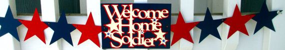Welcome Home Soldier Military Banner on Etsy, $32.00