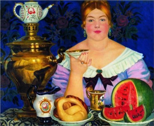 Boris Kustodiev - Merchant's Wife Drinking Tea