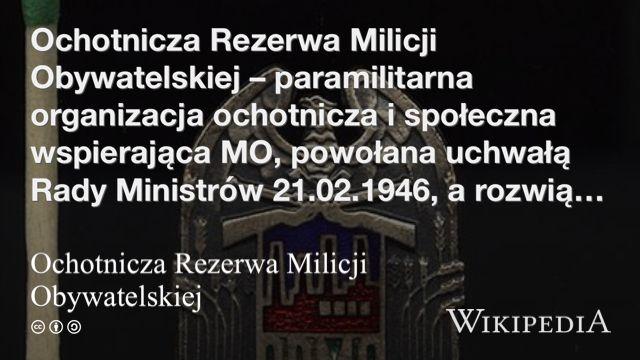 """""""Ochotnicza Rezerwa Milicji Obywatelskiej"""" på @Wikipedia:"""
