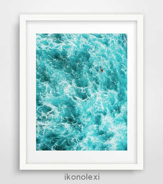 Ocean art, wall prints, ocean waves, cool posters, ocean photography, beach art, large wall art, turquoise blue, nautical bathroom decor by Ikonolexi on Etsy