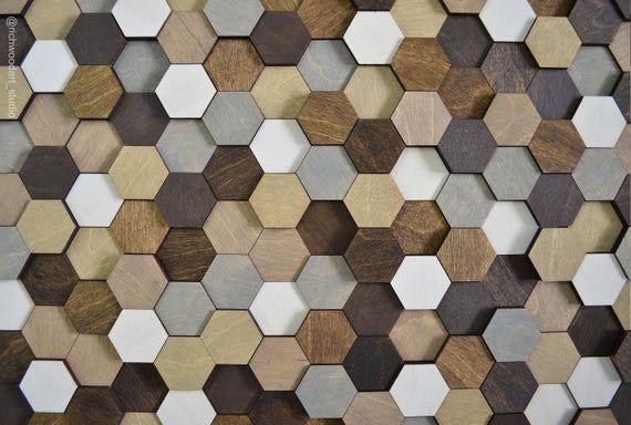 Serenity Modern Geometric Wood Wall Mosaic Honeycomb Etsy In 2020 Wood Wall Art Wood Wall Hexagon Wall Tiles